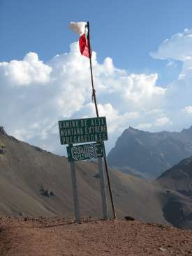 Sign on the border of Chile and Argentina